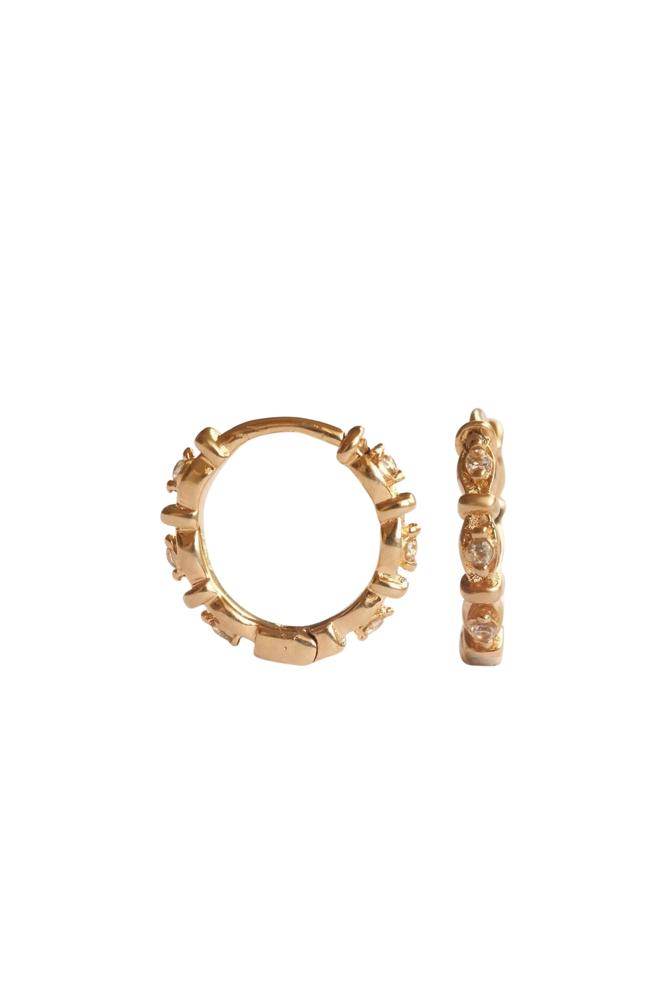 Madame Blanche Huggie Hoops - S-kin Studio Jewelry | Minimal Jewellery That Lasts.