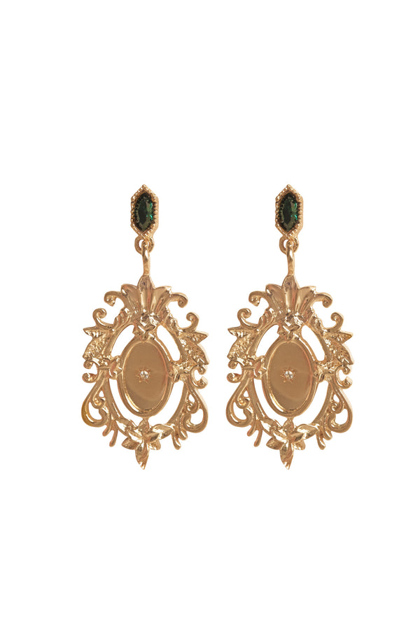 Ornate Mirror Emerald Earrings - S-kin Studio Jewelry | Minimal Jewellery That Lasts.