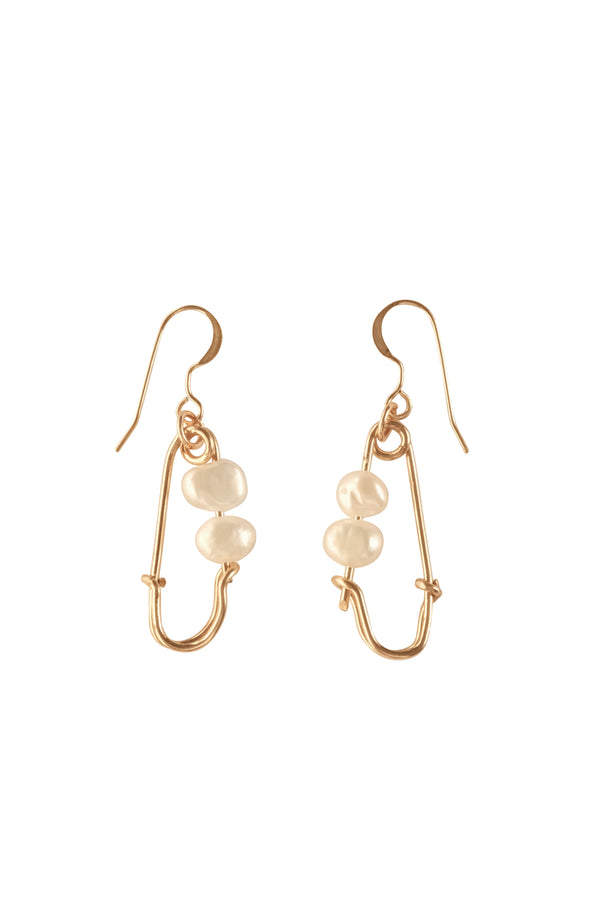 Safety Pin Pearl Earrings - S-kin Studio Jewelry | Minimal Jewellery That Lasts.