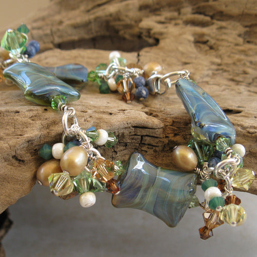 Sea Green/Blue Pillow Bracelet