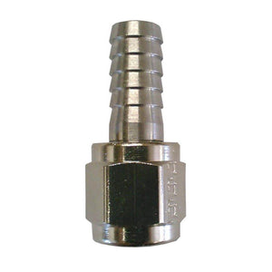 "Stainless steel swivel nut and 1/4"" barb"