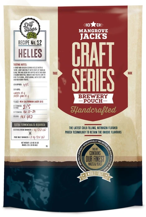Mangrove Jack's Craft Series Brew Pouch -Helles Lager + Dry Hops, extract kit, t/m 5 gal