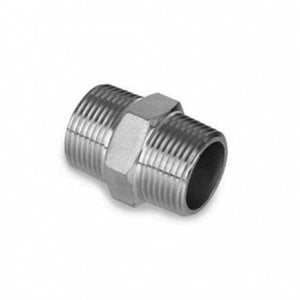 "1/2"" NPT SS Hex nipple for valve to bulkhead"