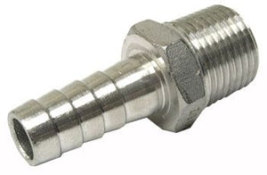 "1/2"" Stainless steel barbed hose fitting, male"