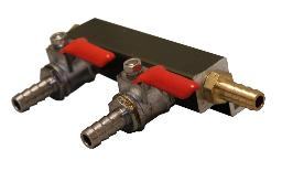 2-way gas manifold with barbed inlet and outlet barbs