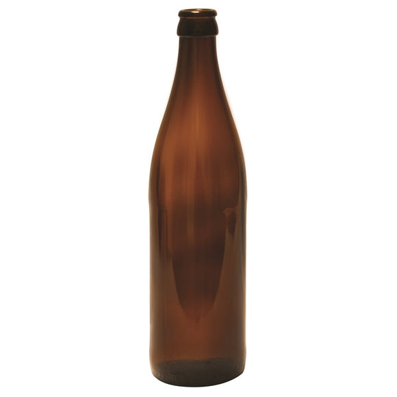 500ml Long neck amber beer bottle, case of 12