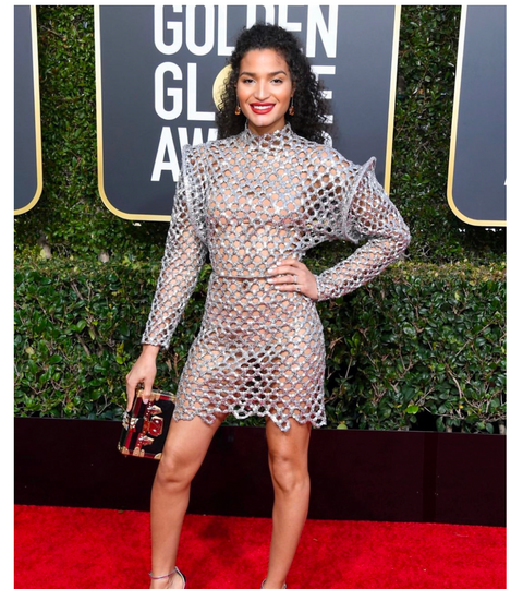 Indya Of FX Pose Wears Mateo To The Golden Globes