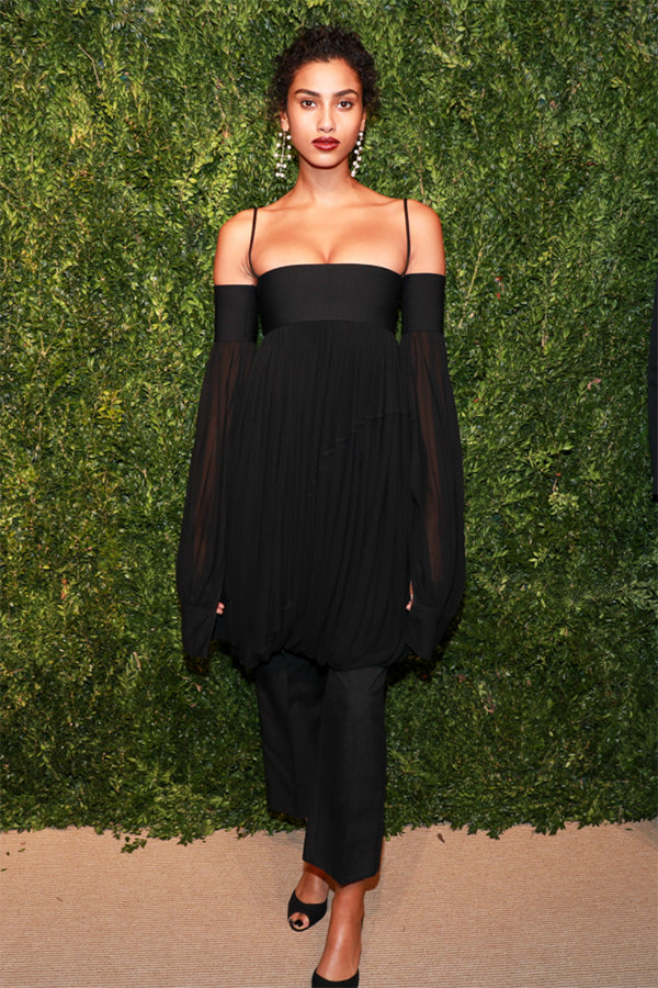 Imaan Hammam ,Model Wearing our Pearl Blizzard Mobile Earrings at the CFDA/Vogue Fashion Fund Awards.