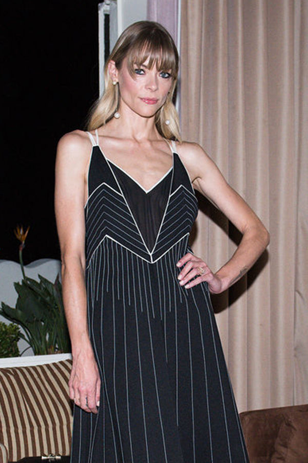 Jaime King Wearing our 14K Gold Pearl Ball Drop Earrings , while attending the Valentino X Instyle Cocktail Party.