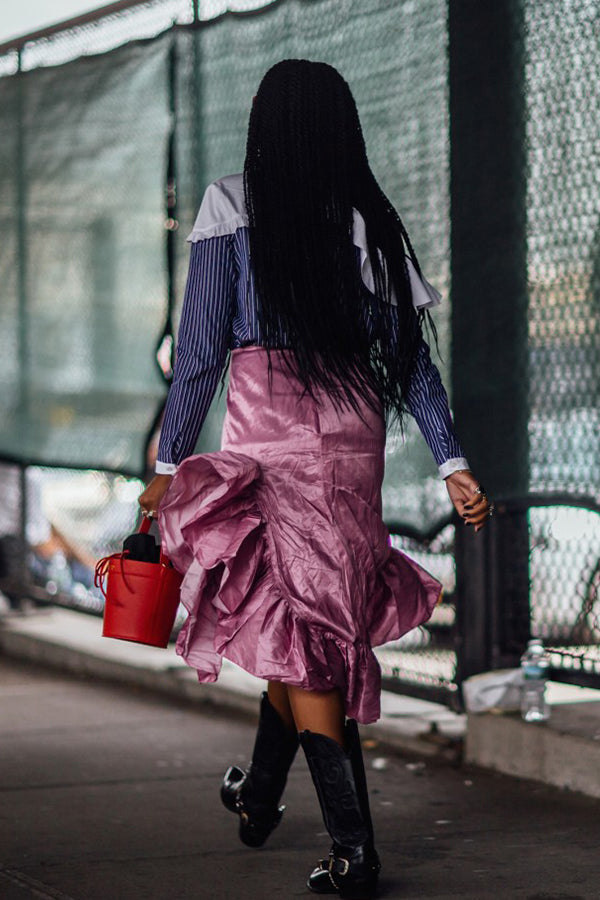Jan-Michael Quammie , Influencer Wearing our Madeline Bag in Rouge at  New York Fashion Week.