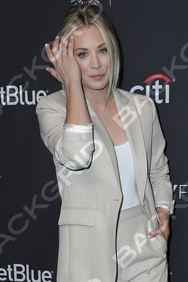 Kayley Cuoco , Actress Wears our 14K Gold Diamond & Pearl Half Moon Ring .