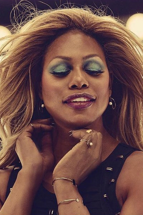 Laverne Co Wears our Diamond Pearl Semicircle Earrings , & Pearl Half Moon Ring .