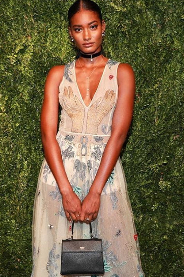 Melodie Monrose , Model Wears our 14K Gold Diamond Half Moon Floating Pearl Hoops , Lady Mother of Pearl Choker , 14K Gold Duo Pearl Lariat , & Mini Elizabeth Bag to the CFDA/Vogue Fashion Fund Awards.