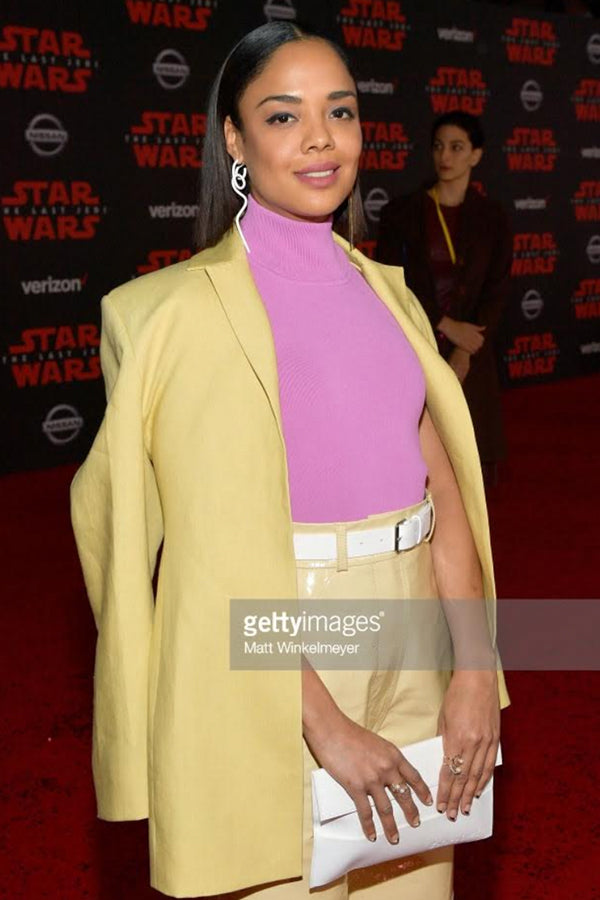 Tessa Thompson , Actress Wears our 14K Gold Pearl & Diamond Half Moon Rings to the Star Wars : The Last Jedi premiere in Los Angeles.