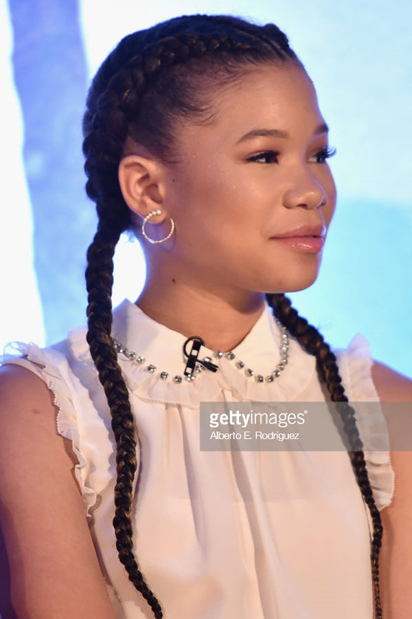 Storm Reid , Actress  Wears our 14K Gold Graduated Pearl & Diamond Hoops .