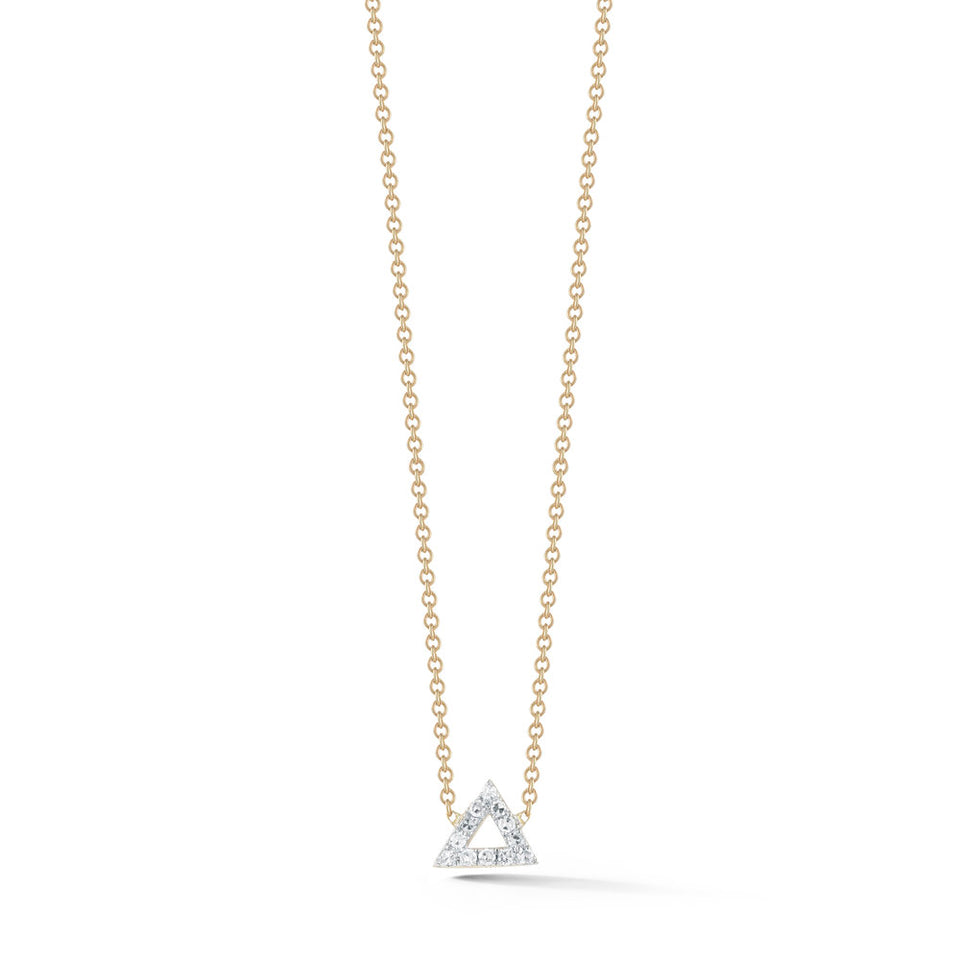 14kt Gold Mini Diamond Triangle Necklace