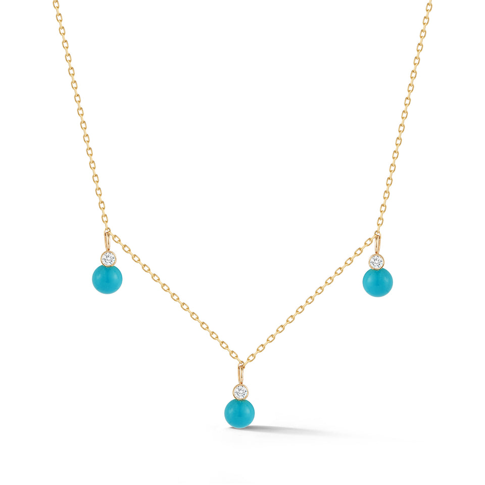 14kt Gold Mini 3 Dot Turquoise and Diamond Necklace