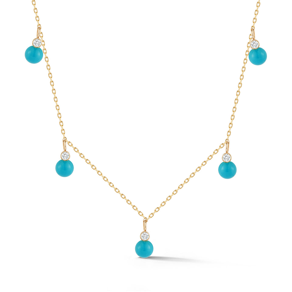 14kt Gold Mini 5 Dot Turquoise and Diamond Necklace