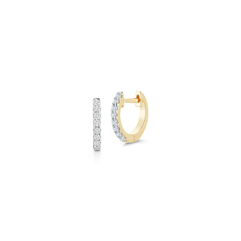 10mm Diamond Huggie - Yellow Gold