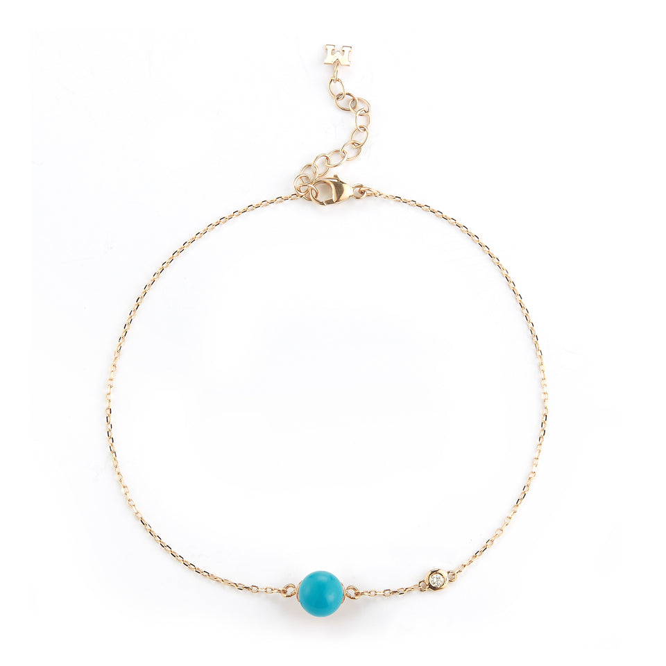 14kt Gold Turquoise and Diamond Dot Bracelet
