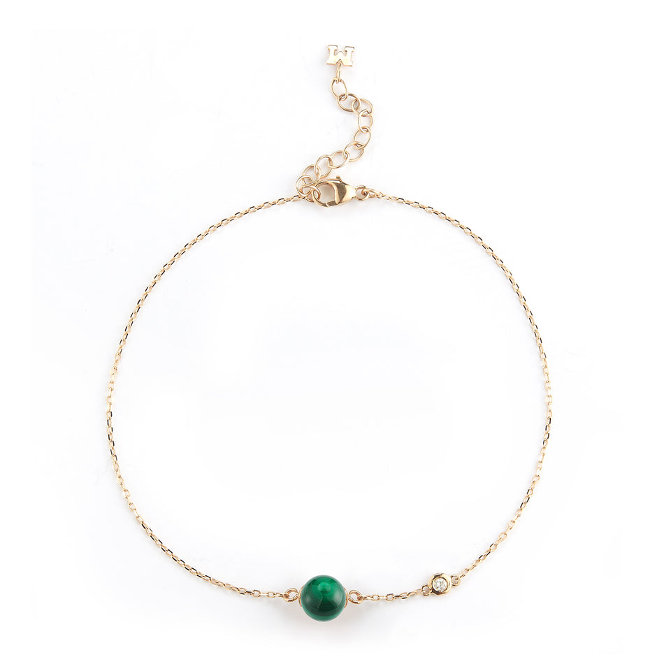 14kt Gold Malachite and Diamond Dot Bracelet