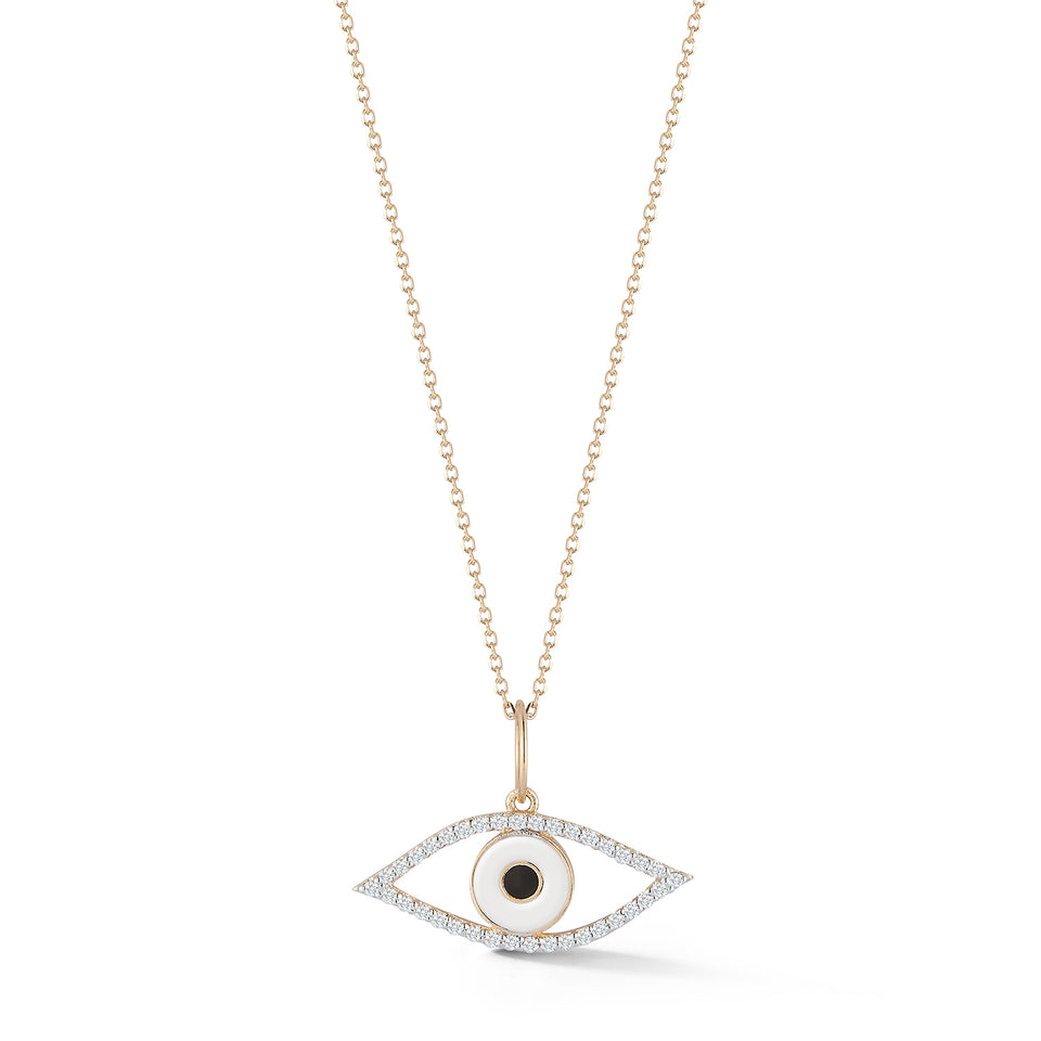 14kt Gold Diamond Eye of Protection Necklace