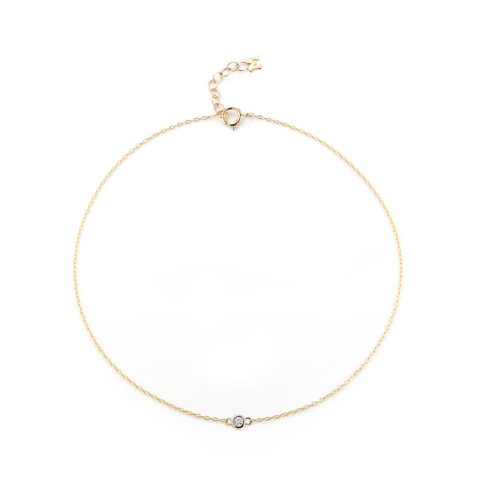 14K Gold Single Diamond Bezel Chain Anklet