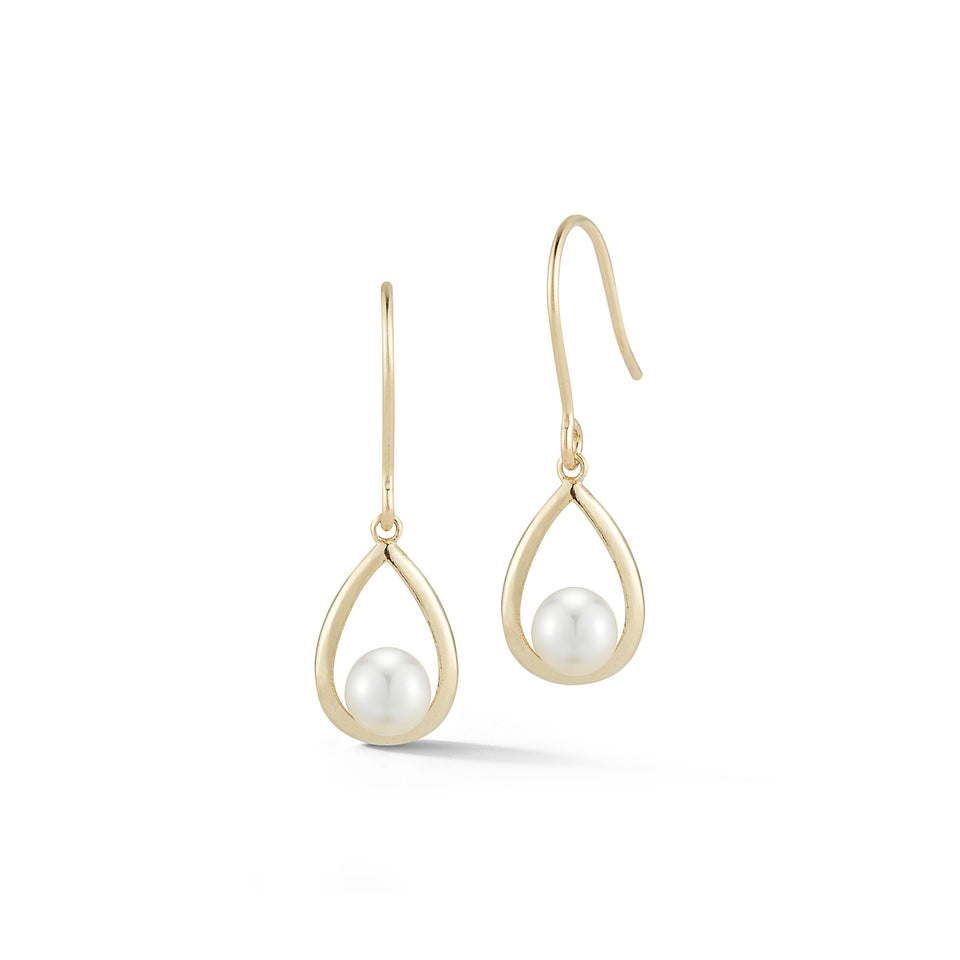 Gold Pearl Tear Drop Earring