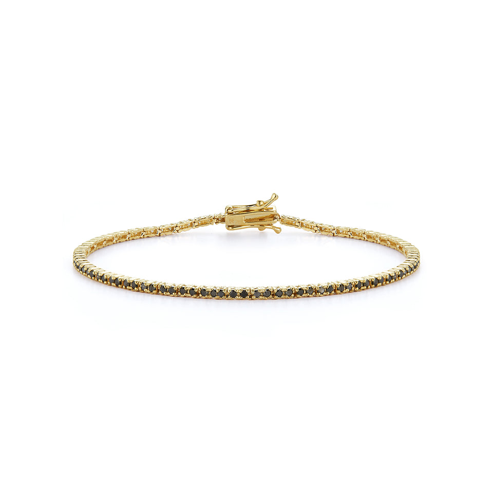14kt Gold Black Diamond Tennis Bracelet