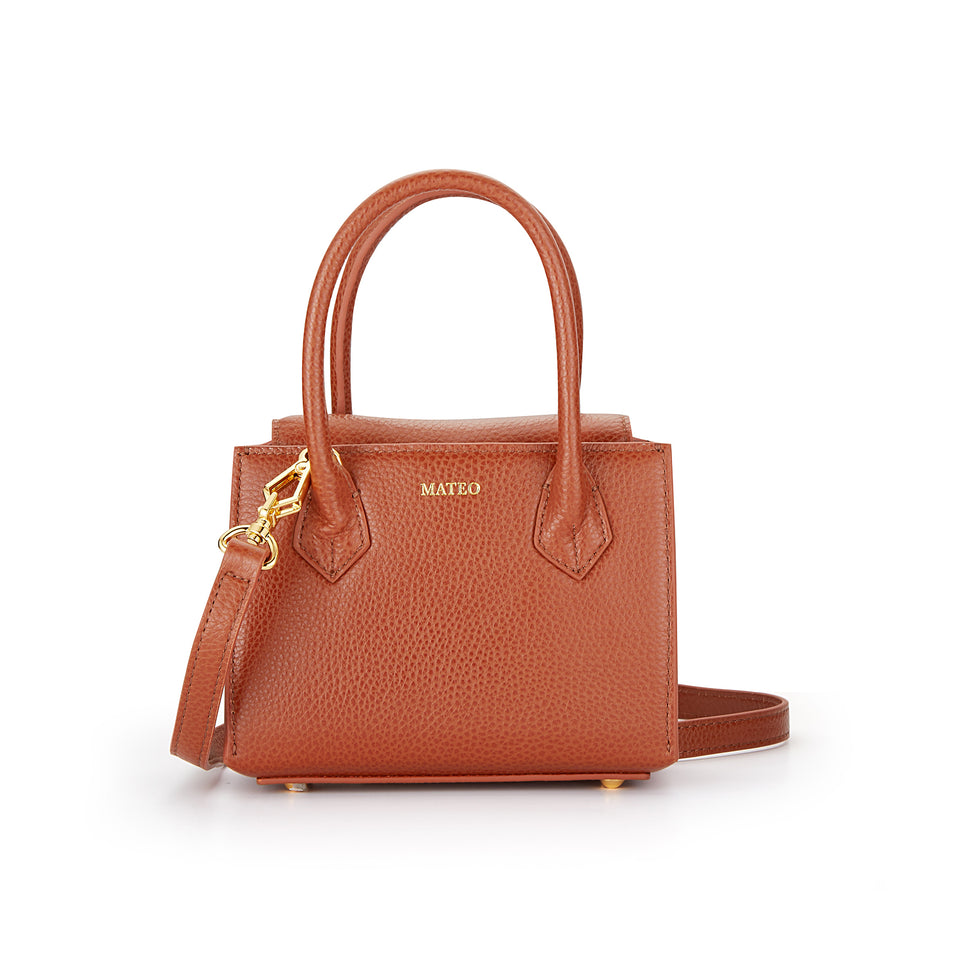 Cognac Pebbled Leather Diana Bag