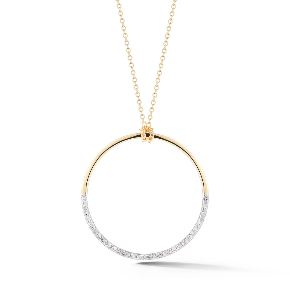 14kt Gold Large Half Moon pendant with diamonds