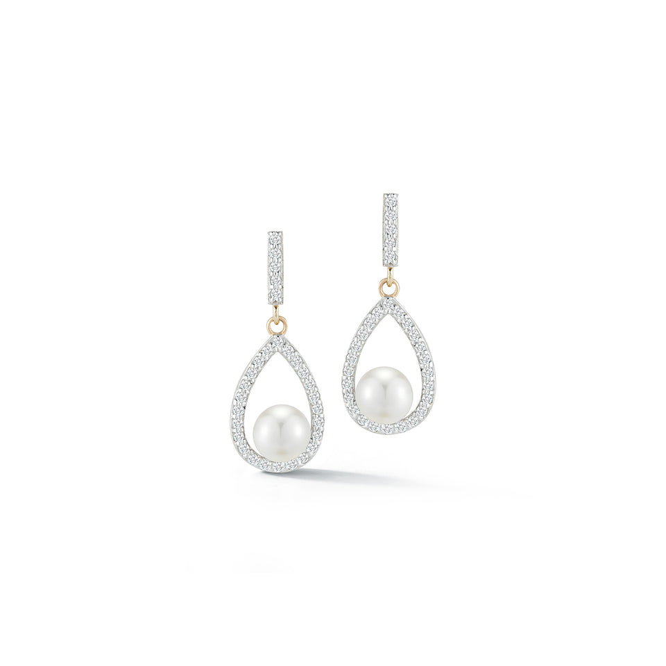 Diamond Pearl Tear Drop earring
