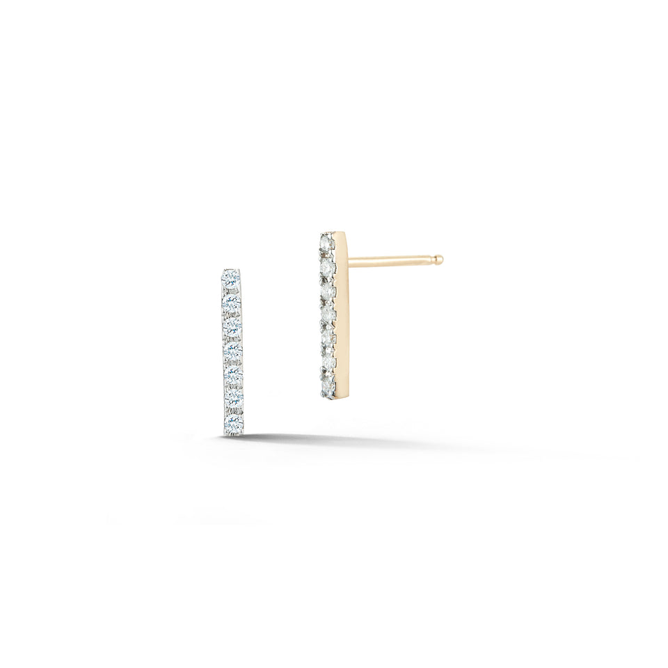 14K Gold Mini Diamond Bar Studs