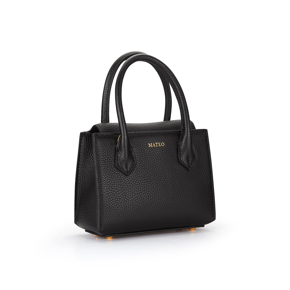 Black Pebbled Leather Diana Bag