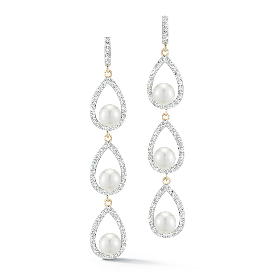 Triple Diamond Pearl Tear  Drop earring