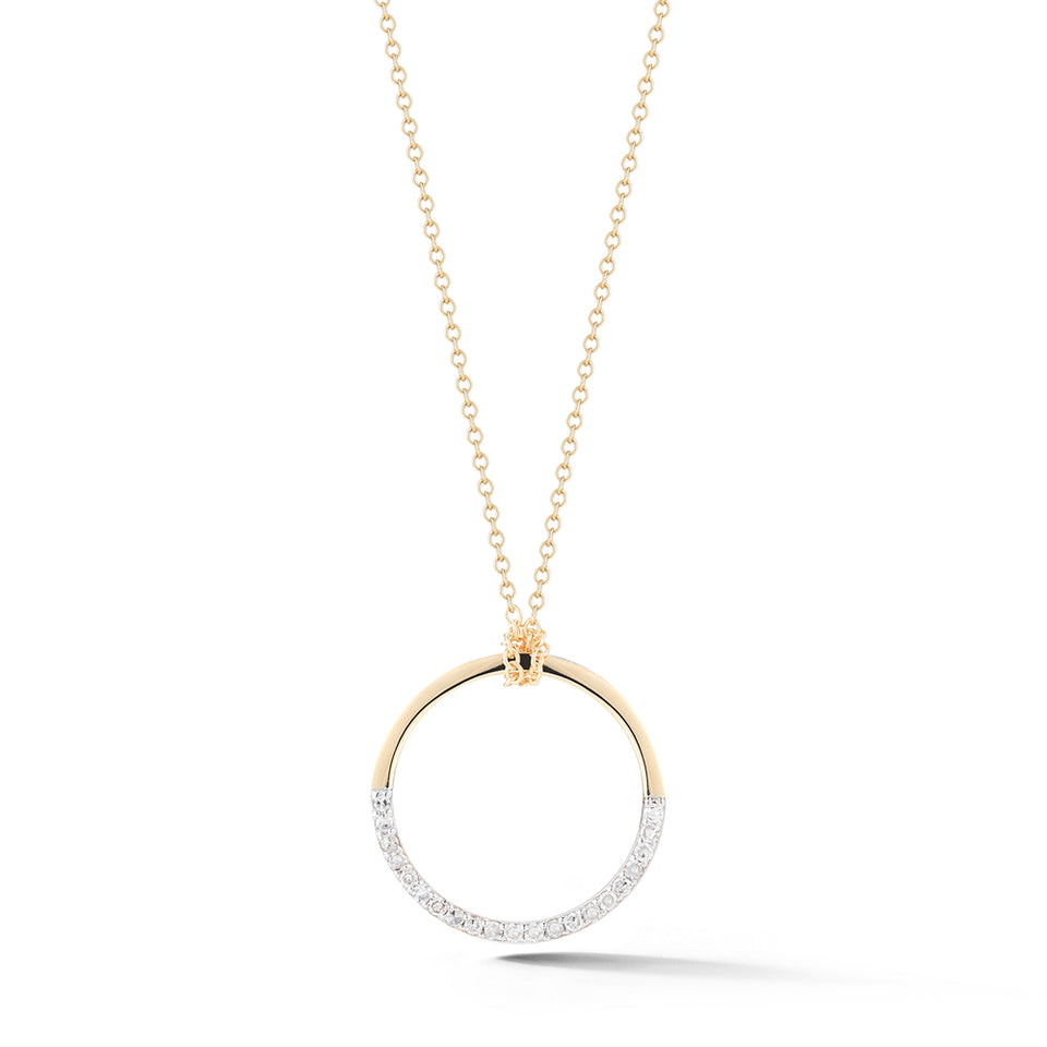 14kt Gold Small Half Moon pendant with diamonds