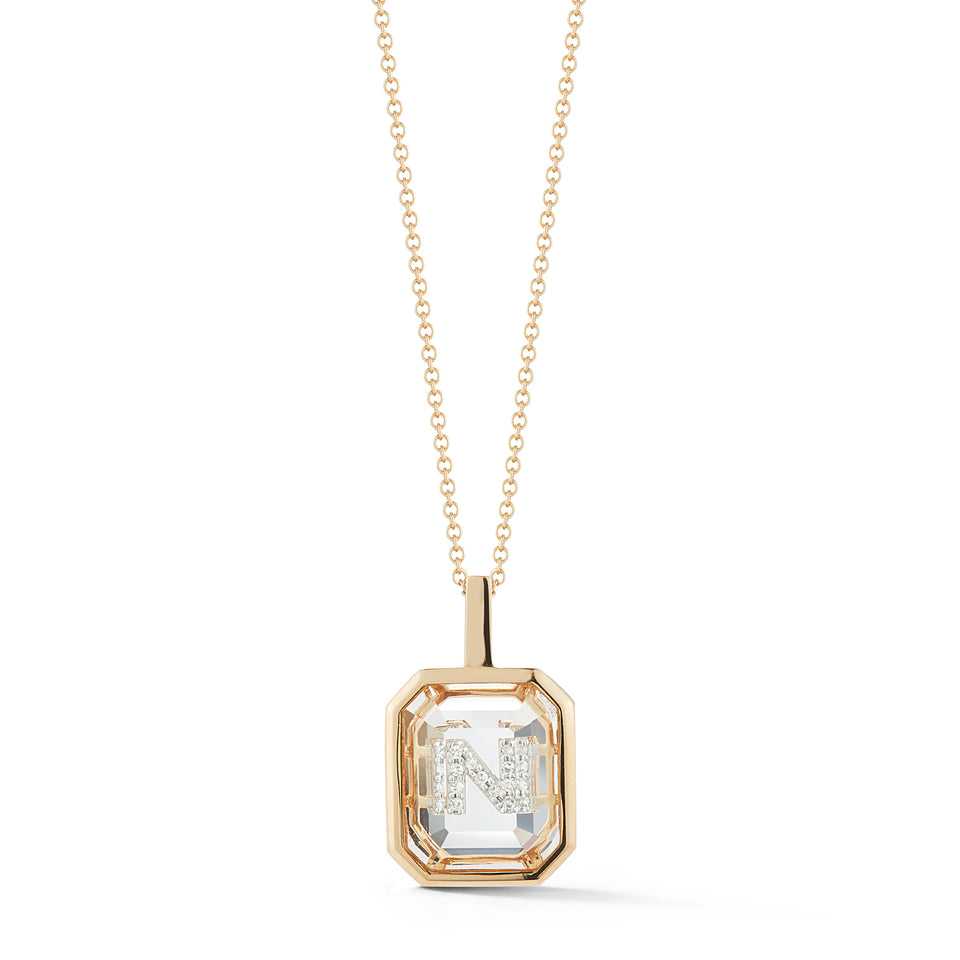 14kt Gold Frame Crystal Quartz Secret Diamond Initial necklace