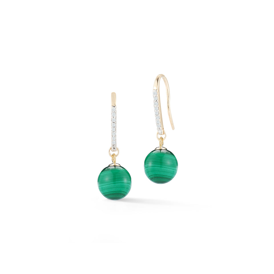 14kt Gold Single Malachite Drop Earrings