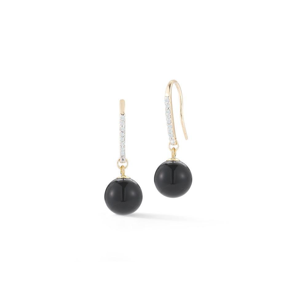 14kt Gold Single Onyx Drop Earrings