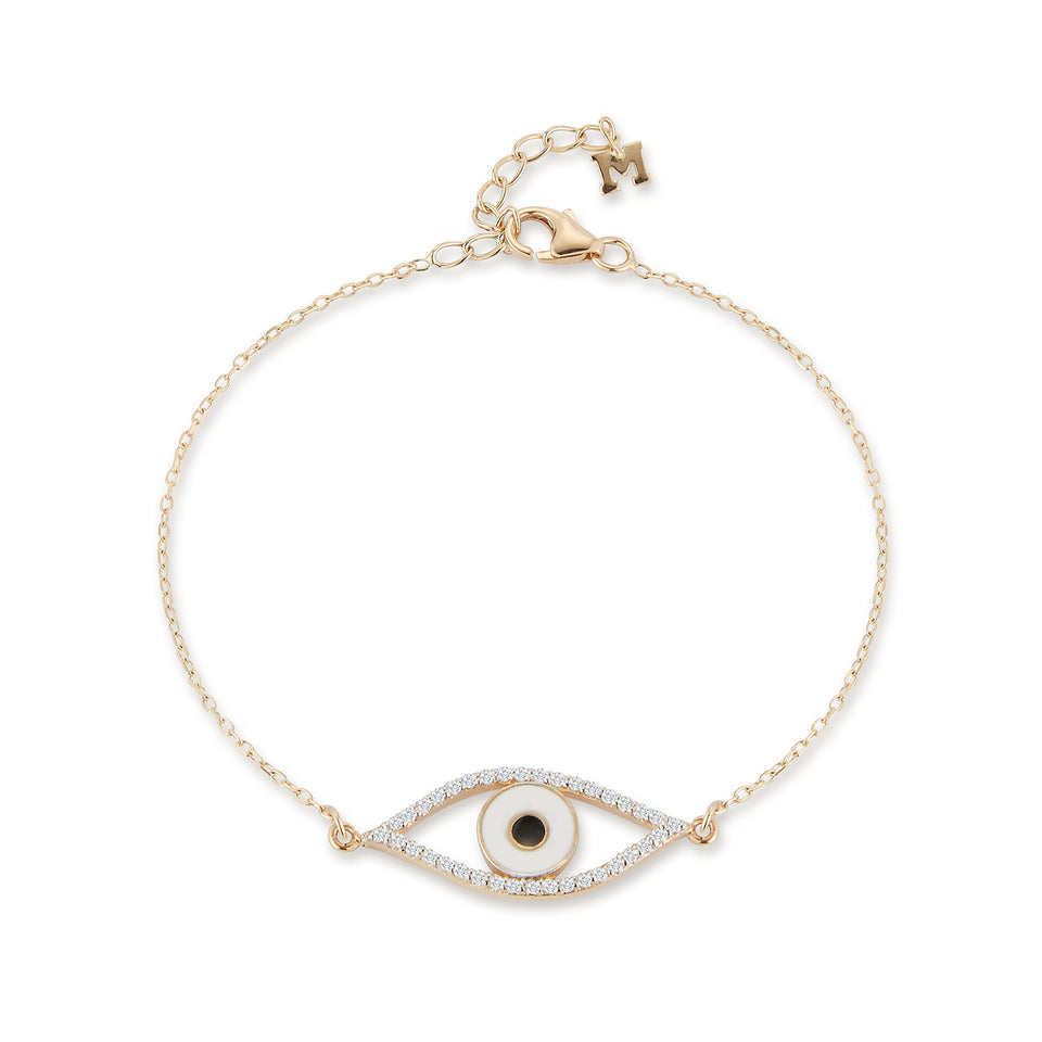 14kt Gold Diamond Eye of Protection Bracelet