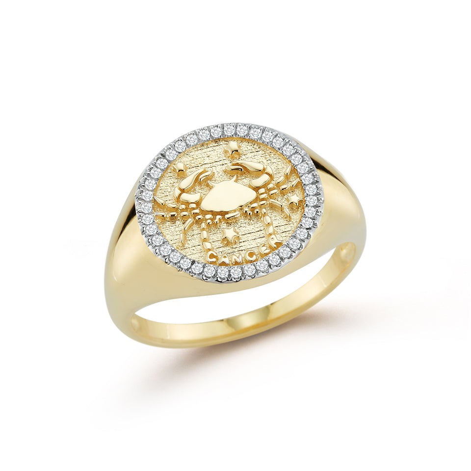 14kt Gold Zodiac Coin Ring