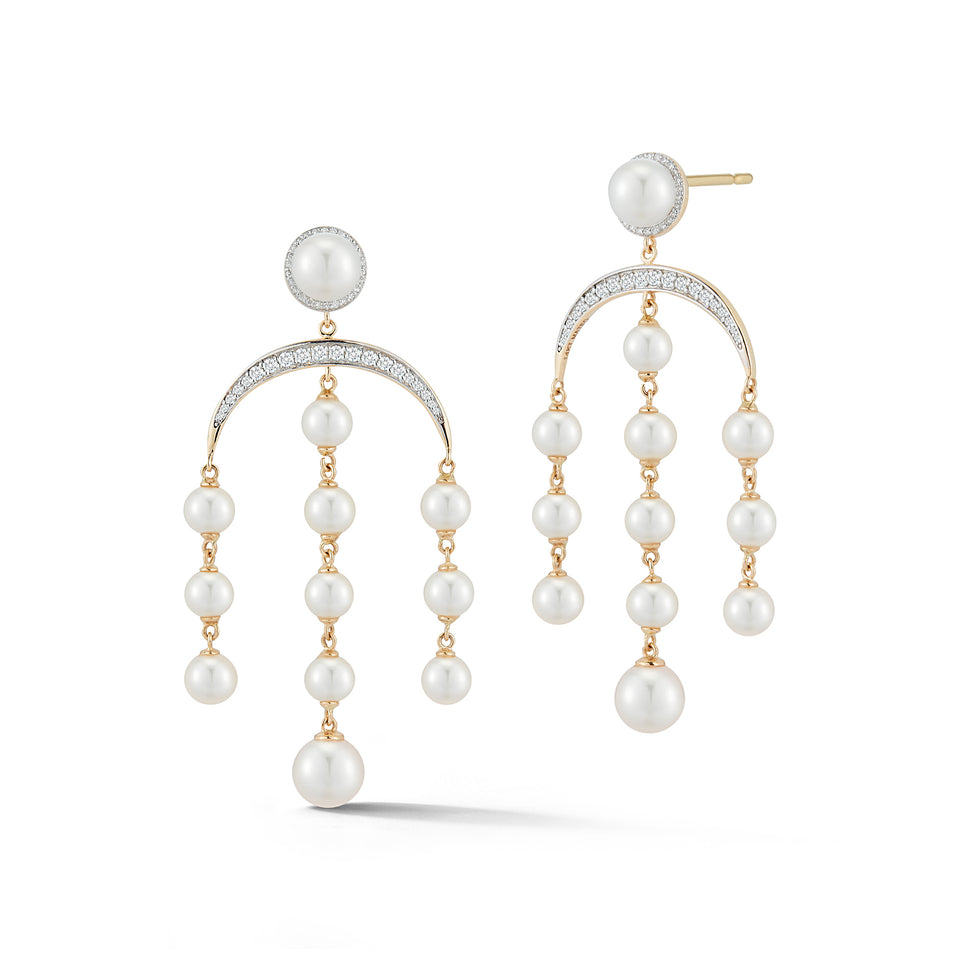 14kt Gold Pearl Crescent Moon Statement Earring