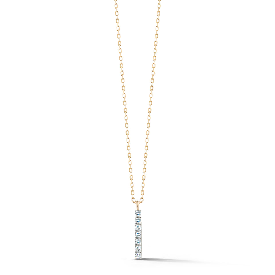 14kt Gold Small Diamond La Barre Necklace