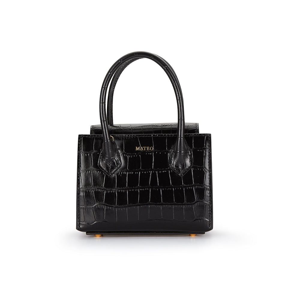 Black Croc Diana Bag