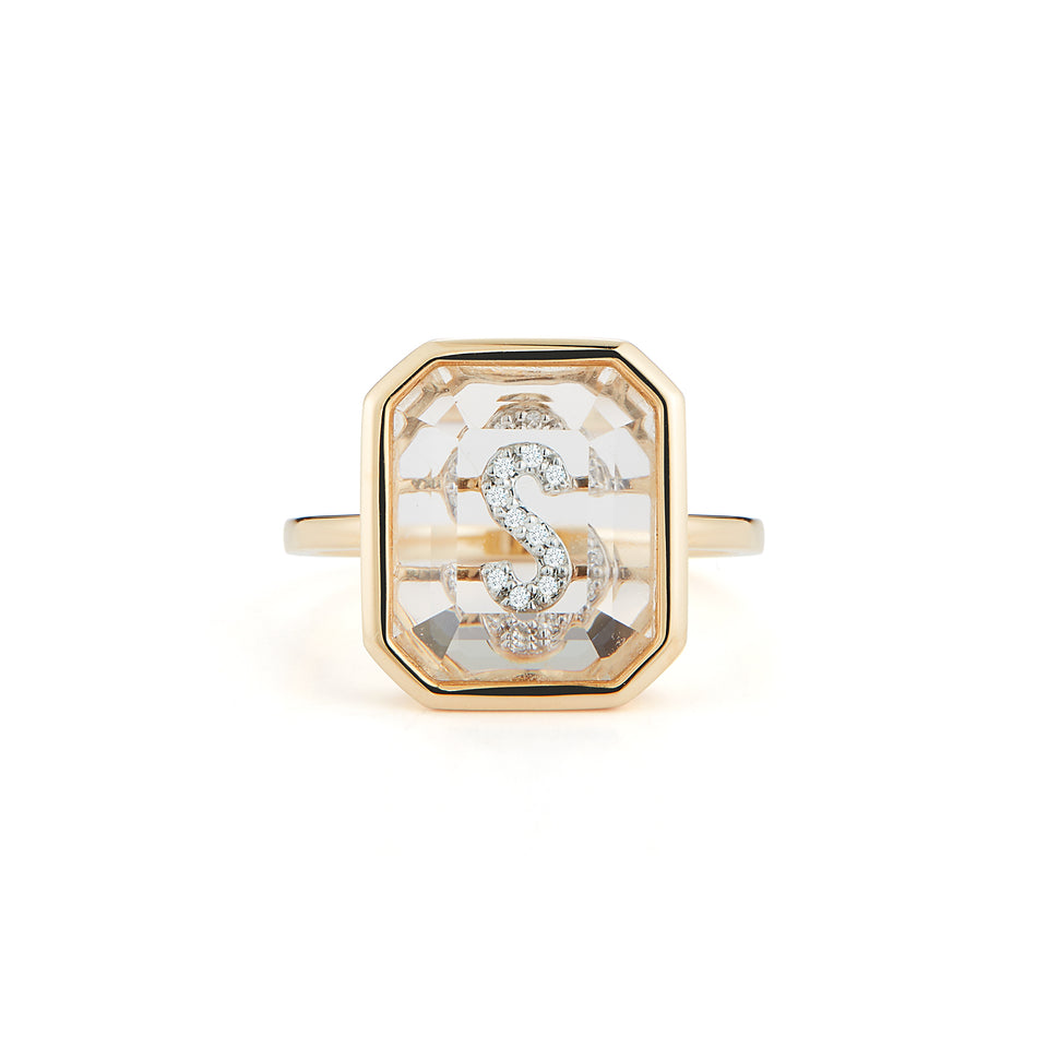 14K Gold Frame Crystal Quartz secret diamond initial ring