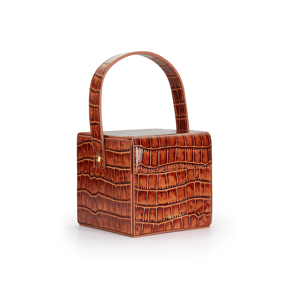 Cognac Croc Catherine Box Bag