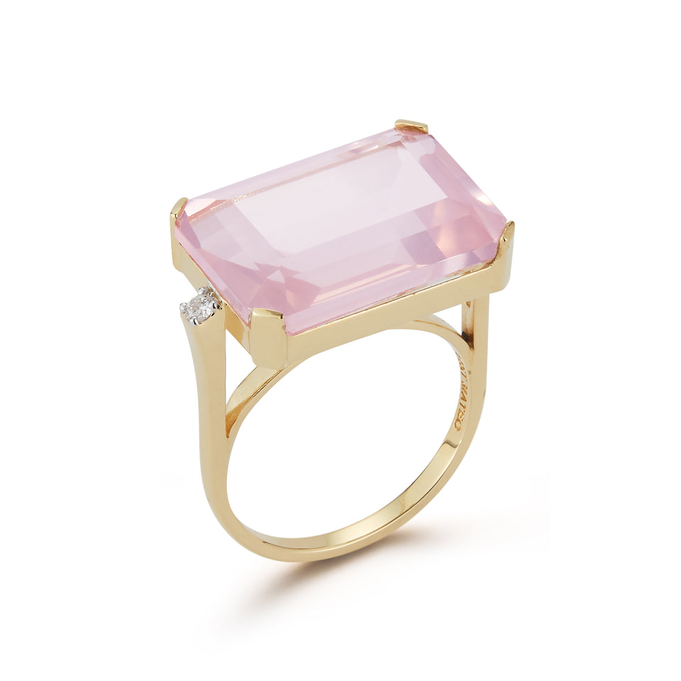 East West Pink Topaz Ring