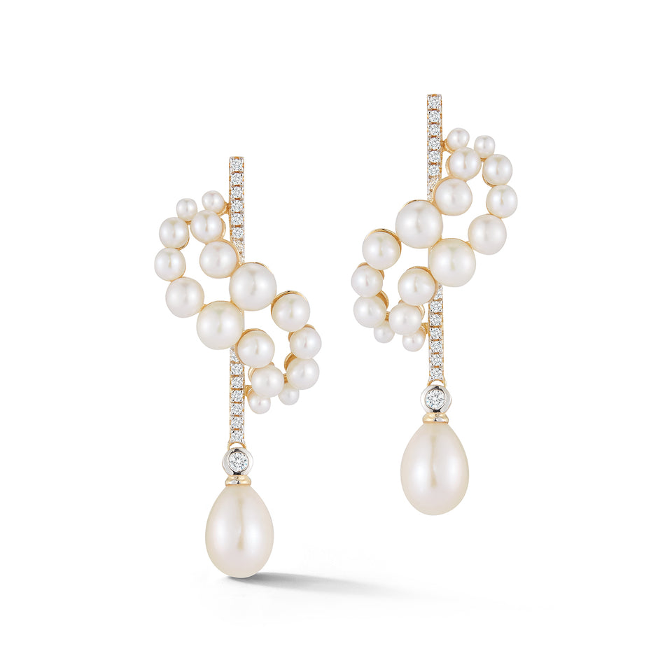 14kt Gold Pearl Curve Form Earrings with drops