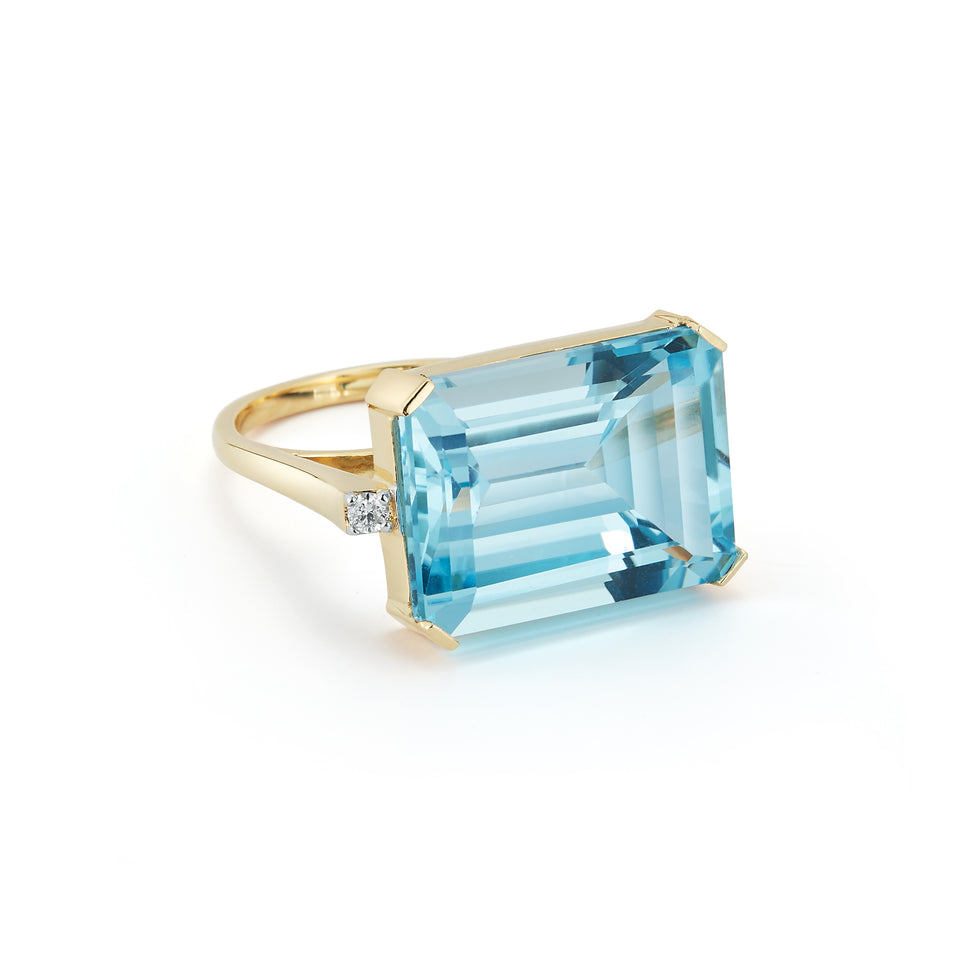 East West Blue Topaz Ring