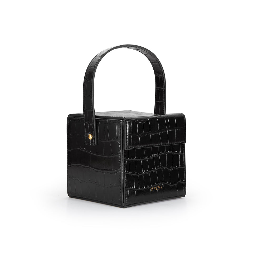 Black Croc Catherine Box Bag
